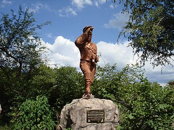 David Livingstone staue near Victoria Falls, Z...