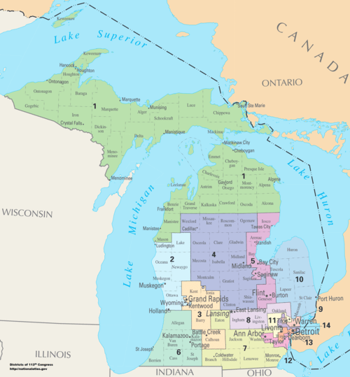 List of United States congressional districts   Wikiwand Michigan s congressional districts since 2013