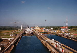 Going through locks in the Panama Canal, 1994