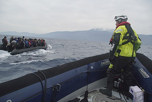 Refugees crossing the Mediterranean sea on a boat, heading from Turkish coast to the northeastern Greek island of Lesbos, 29 January 2016