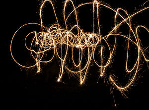 English: Sparklers with a slow shutter speed.