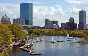 Skyline of Back Bay, seen from the Charles Riv...