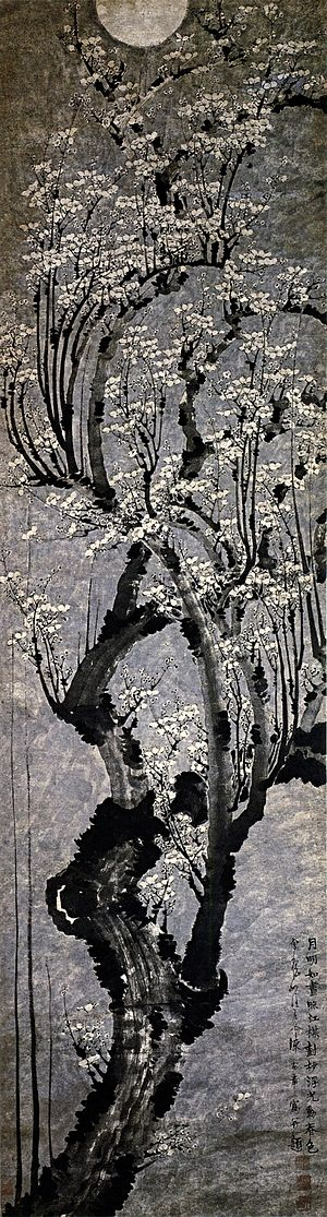 English: Plum Blossoms, hanging scroll, ink on...