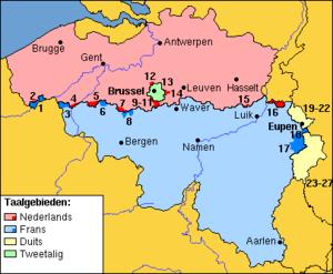 Map of Belgian municipalities with language fa...