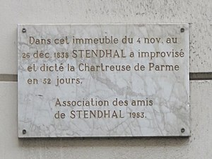 "Building where Stendhal dictated ""la Char..."