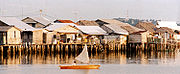 A fishing village of pile houses in the Riau archipelago