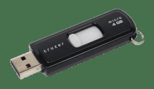 A Sandisk-brand USB thumb drive, SanDisk Cruze...