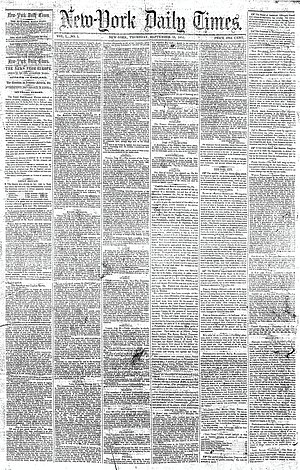 Front page of the first issue of The New York ...