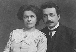 English: Albert Einstein and his first wife, M...