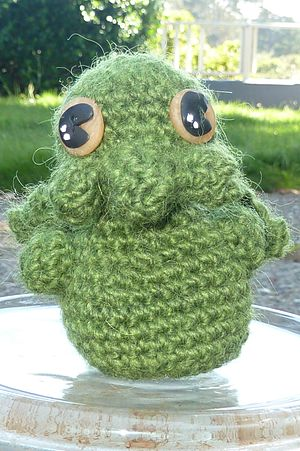 Homemade Cthulhu, adapted from pattern in Cree...