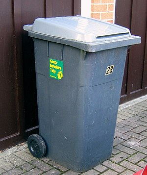 A typical wheelie bin household waste receptacle
