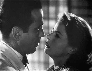 Humphrey Bogart and Ingrid Bergman in a romant...
