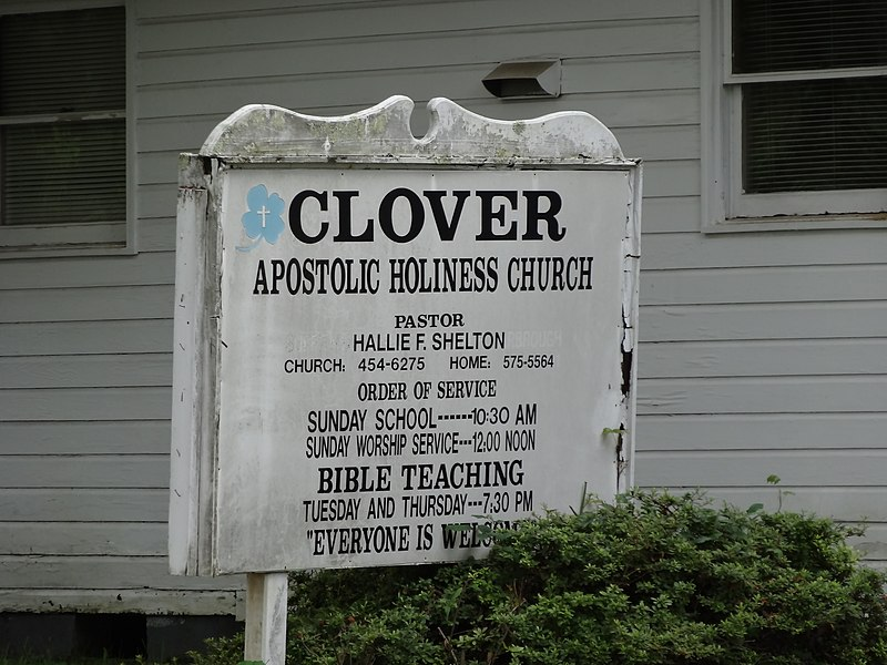 File:Clover Apostolic Holiness Church sign.JPG