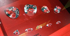 Glass copies of the nine diamonds cut from the...