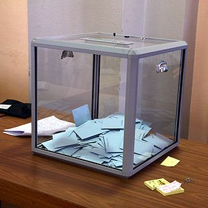 English: Regulation transparent voting box for...