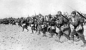 A photograph showing a French bayonet charge t...