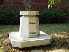 Gandhi's ashes at Aga Khan Palace (Pune, India).