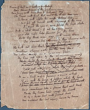First page of John Keats's manuscript of his p...