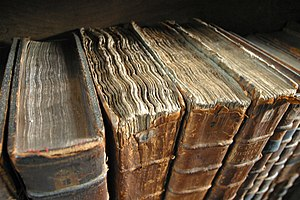 Old book bindings at the Merton College library.