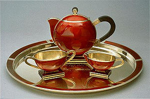 Gold and enamel tea set made by David Andersen...
