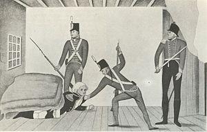 A propaganda cartoon of the arrest of Governor...