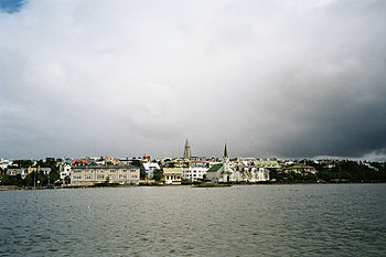 View across the Tjörnin, the Pond in Reykjavik
