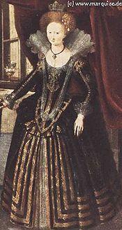 Um vestido tðico do inãio do século XVII.