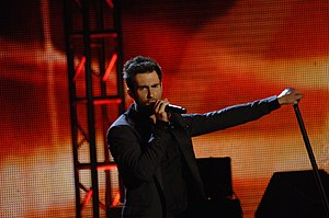 English: Adam Levine from Maroon 5 performs at...