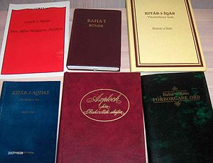 Covers of some of the holy books of the Bahá'í...