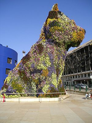 Jeff Koons' sculpture Puppy, a 12 metres high ...