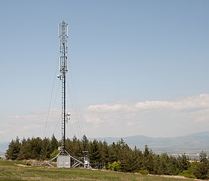 English: Cell phone tower near the village of ...