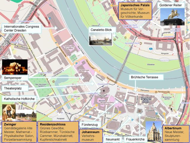 Museen im historischen Zentrum von Dresden
