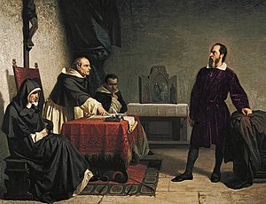 Galileo facing the Roman Inquisition, painting...