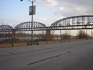 The MacArthur Bridge in St. Louis from the Riv...