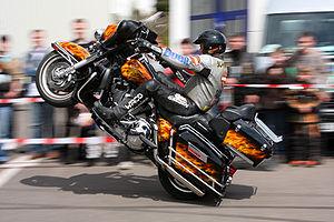 Motorcycle stunt; driver: Rainer Schwarz