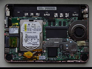 The inside of an MSI Wind PC (netbook).