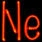 Illuminated orange gas discharge tubes shaped as letters N and e.