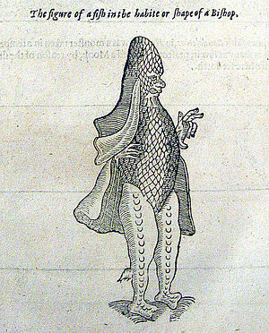 Sea monster or fish in shape of a bishop, from...