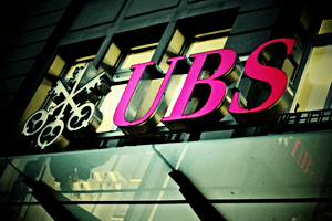 UBS sign featuring logo including three keys
