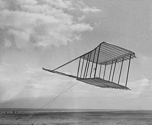Wright brothers 1900 glider flying as a kite.