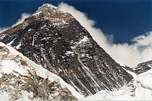 The upper slopes of Mount Everest. The Southea...