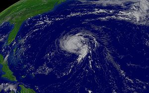 Irene was located south of Bermuda and was mov...