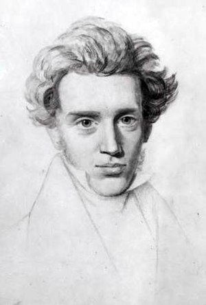 English: Sketch of Søren Kierkegaard. Based on...