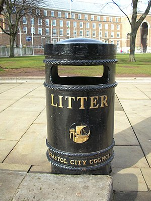 A litter bin located on College Green, Bristol...