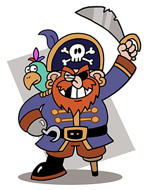 A stereotypical caricature of a pirate.
