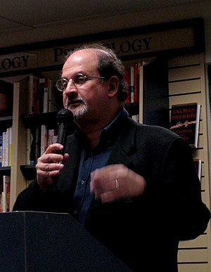 Salman Rushdie presenting his book Shalimar th...