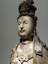 Bồ Tát Quán Thế Âm với tượng Ph�t A-di-đà trên đỉnh đầu (nhà Tống, Trung Quốc, tk. 13)