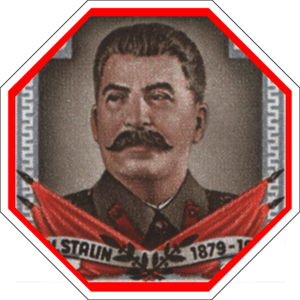 English: Image of Joseph Stalin within octogon...