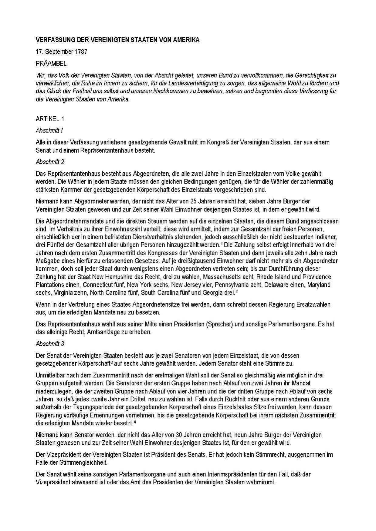File United States Constitution German
