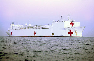 The USNS Comfort (T-AH-20) is a converted oil ...